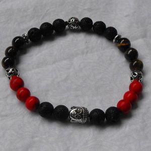 Mens Buddha head lava bracelet